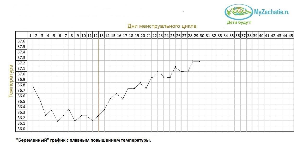 """""""Беременный"""" график с плавным повышеним БТ"""