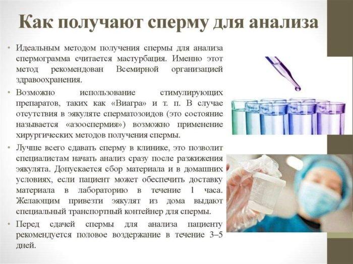 получение эякулята для спермограммы